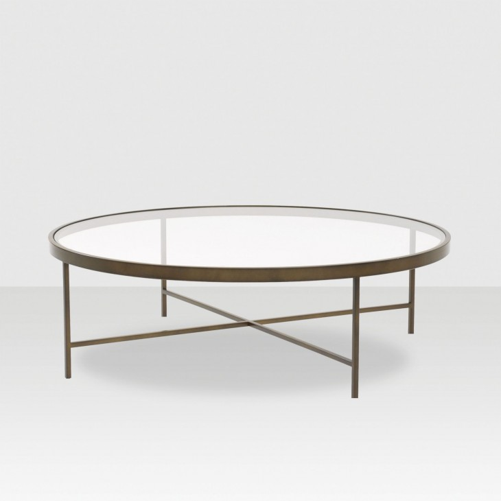 round glass table with steel details