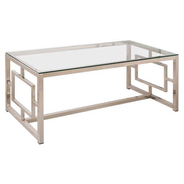 square glass table with chrome steel details