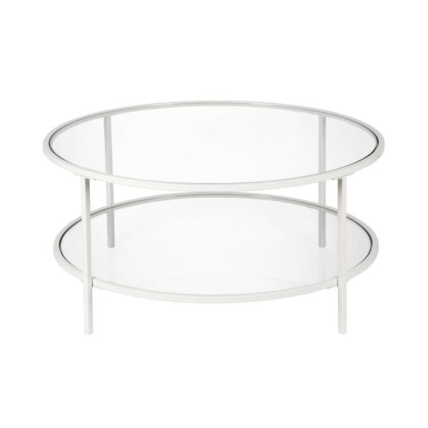 round glass double table with steel details
